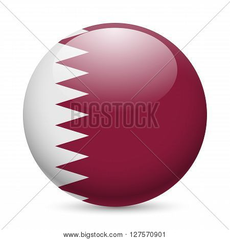 Flag of Qatar as round glossy icon. Button with Qatari flag