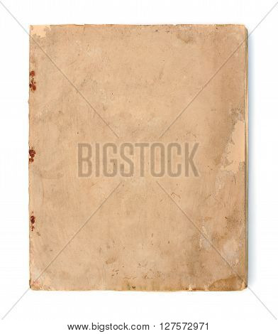 Vintage yellow obsolete paper at white background