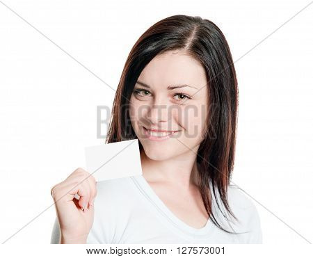 Closeup portrait of pretty girl displaying empty visiting card