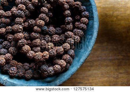 Prayer beads made of rudraksha seeds traditionally used for prayer beads in Hinduism and Buddhism