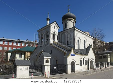 MOSCOW, RUSSIA - APRIL 12, 2016: Old Believer Church of the Intercession of the Holy Virgin Ostozhenka community Turchaninov lane 4 Building 1 constructed between 1907 and 1911 landmark