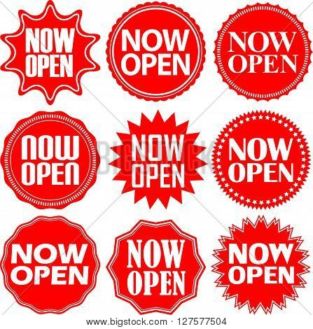 Now Open Red Label. Now Open Red Sign. Now Open Red Banner. Vector Illustration
