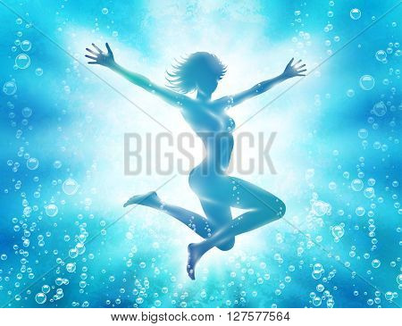 Attractive girl diving in water with hands up. Vector illustration.