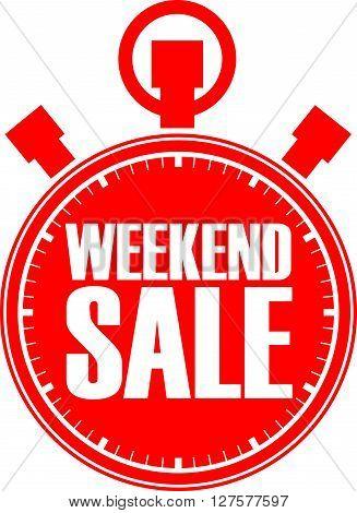 Weekend sale red stopwatch, weekend sale label vector illustration
