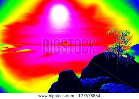 Fantastic Infrared Scan Of Rocky Landscape, Pine Forest With Colorful Fog, Hot Sunny Sky Above. Grun