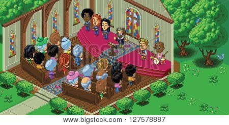 Vector illustration of a church service in a cute cartoon video game pixel art style. The church is located in a forest setting and is rendered in isometric perspective. Separated into layers for easy editing.