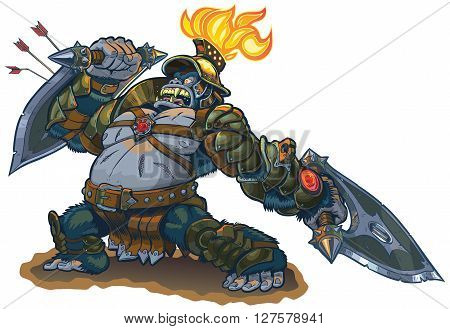 Vector cartoon fantasy illustration of a mighty gorilla warrior in armor with a flaming torch on his helmet. He blocks arrows with his shield blade and in a rage he defies his enemies to meet him in personal combat. Also a bad pun.