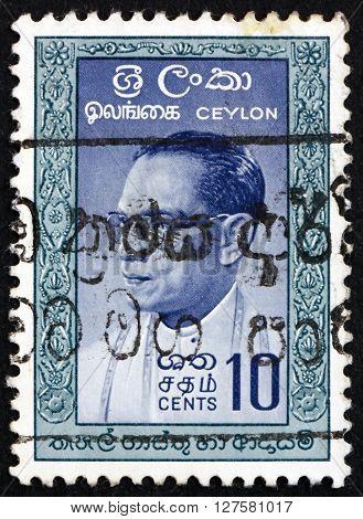 SRI LANKA - CIRCA 1963: a stamp printed in Sri Lanka shows S.W.R.D. Bandaranaike was the fourth Prime Minister of Ceylon circa 1963