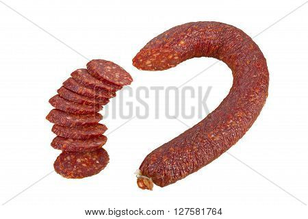 Dry sausage salami isolated on white background focus stacking.