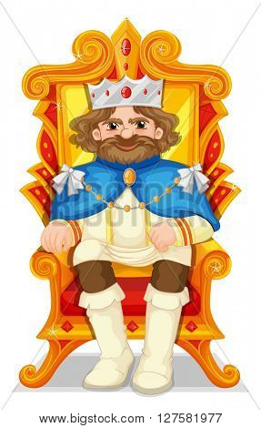 King sitting on the throne illustration