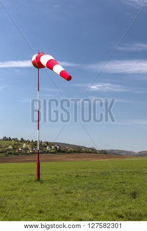 Windsocks wind direction indicator at the civilian airport