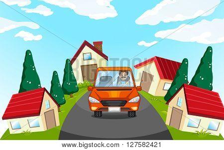 Man driving car in the neighborhood illustration