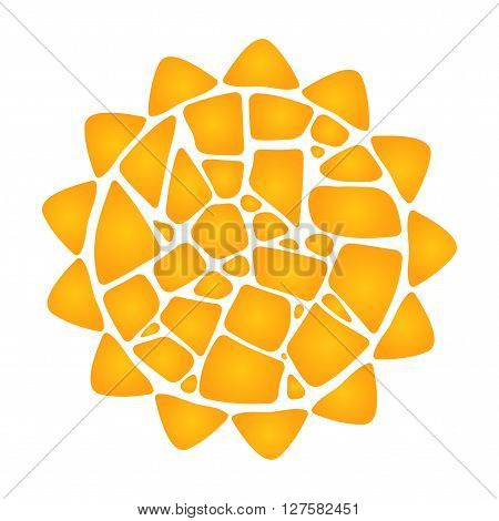 Mosaic vector sun. Yellow sun on white background. Mosaic sun logo. Gold sun icon. Mosaic sun design element. Isolated sun.