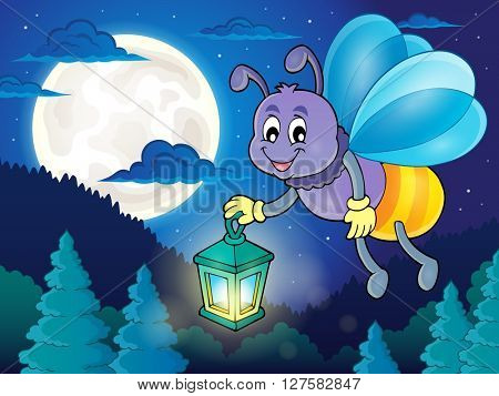 Firefly with lantern theme image 2 - eps10 vector illustration.