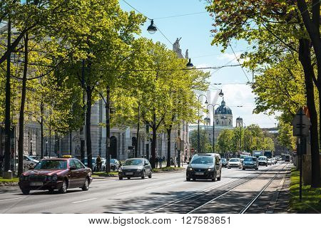 VIENNA, AUSTRIA-April 20 : Tourists on foot Graben Street in Vienna on April 20, 2016.Vienna is Austria's primary city, with a population of about 1.757 million.