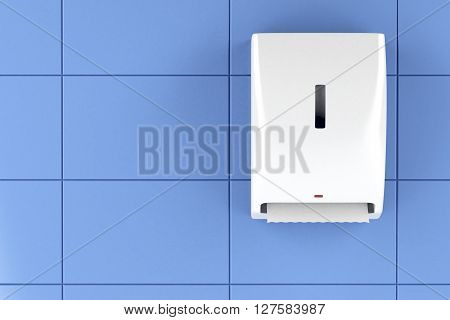 Automatic paper towel dispenser on the wall, 3D illustration