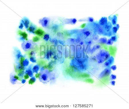 Watercolor spring blue green splash tender background