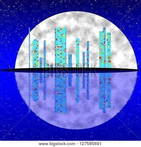 Blue Fullmoon Night Cityscape Illustration With Buildings On Island