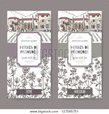 Two Herbes de Provence labels with Provence mansion landscape, thyme and marjoram sketch on white. Culinary herbs collection. Great for cooking, medical, gardening design.