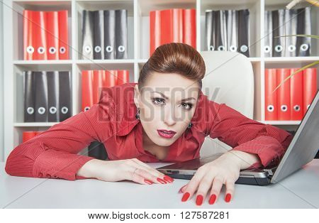 Tired Businesswoman Working In Office. Overwork Concept