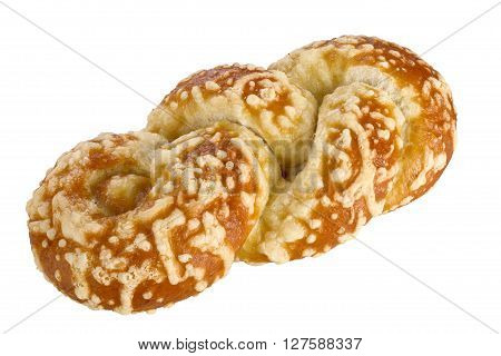 Bun with cheese gratin isolated on white background.