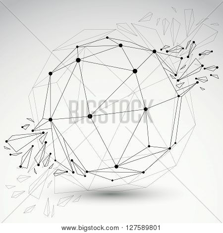 3d vector low poly spherical object with black connected lines and dots geometric wireframe shape with refractions. Asymmetric perspective shattered form.