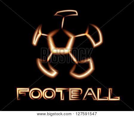 Football Luminous Logotype On Black Background