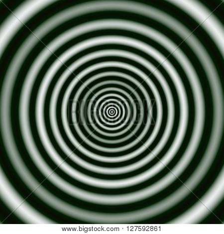 Regular Concentric Rings In Monochrome. Digital Abstract Image With A Concentric Circle Design In Bl