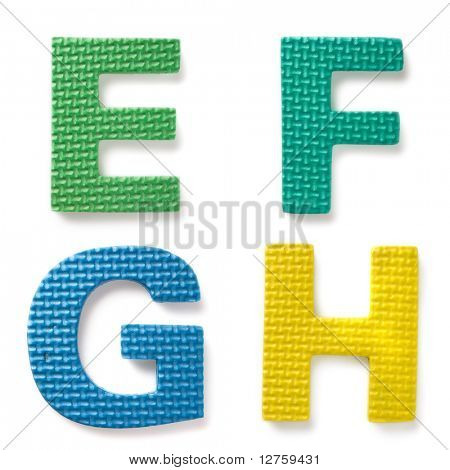 Letters isolated on the white background