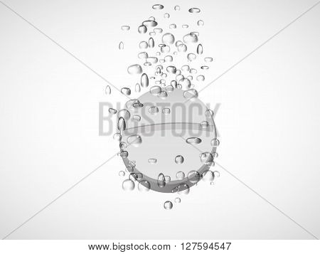 Effervescent tablet in water with bubbles.vector illustration.3d