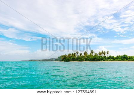 Panoramic view of No Mans Land beach in Tobago West Indies tropical island