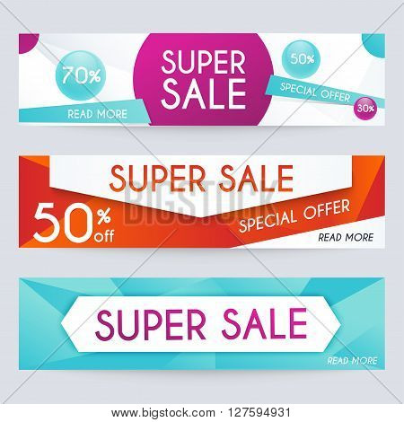 Set Of Sale Banners Design. Sale Paper Banner. Sale And Discounts. Super Sale And Special Offer. Sal
