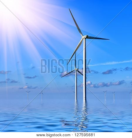 Offshore Wind farm against a blue sky at sunrise