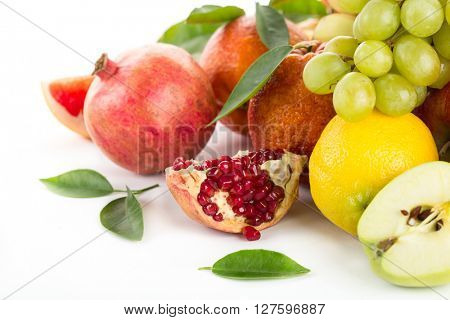 Collection of fresh fruits on a white background