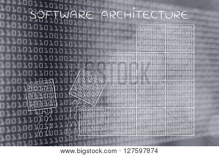 Men Lifting Blocks Of Binary Code, Software Architecture