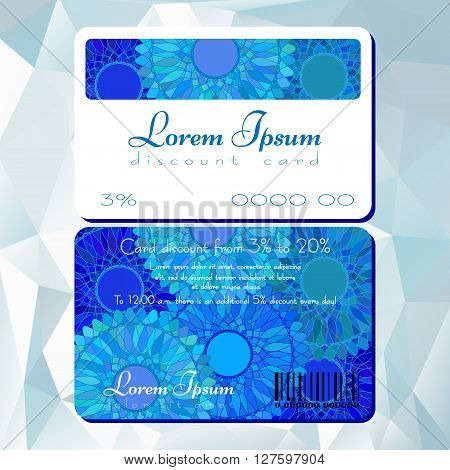 Fashion template of discount card with blue mandala pattern. Loyalty card for cosmetics store or shop, beauty salons, yoga studios, massage cabinet. Vector illustration poster