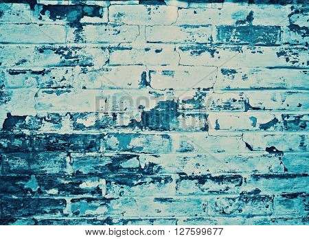 detail of a blue weathered wall, background
