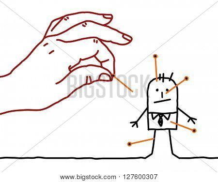 big hand and cartoon businessman - voodoo