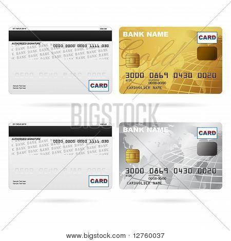 Vorder- und Rückseite der Kreditkarten