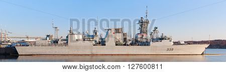 HALIFAX CANADA - APRIL 25 2016: HMCS Charlottetown (FFH 339) is a Halifax-class frigate that has served in the Royal Canadian Navy since 1995