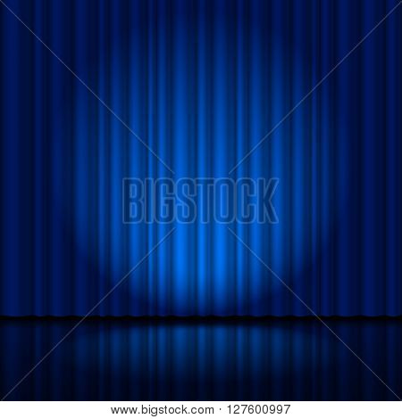 Fragment dark blue stage curtain. Illustration for creative designer
