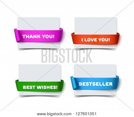 Set of four paper greeting cards with curved red gift ribbons isolated on white. Realistic vector illustration of white paper note card with ribbon with space for text for banner and decoration. Collection of colorful gift cards with paper ribbons for gre
