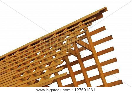 Wooden roof fame isolated on white photo