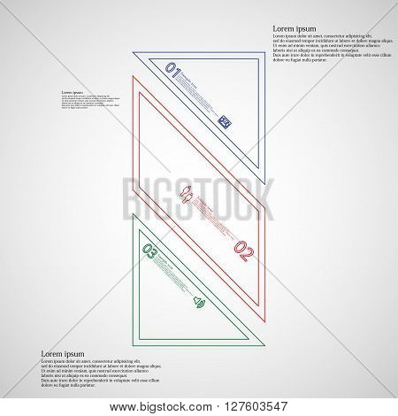 Bar rectangle infographic illustration template askew divided to three color parts. Each part contain text number and sign and is created by double outline contour.