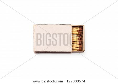 Blank matches box mock up isolated. Empty paper match packaging mockup. Matchbook case photo image top view ready for logo design presentation. Opened matchbox clear surface.