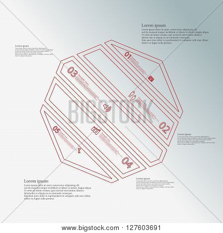 Octagon infographic illustration template askew divided to five red parts. Each part contain text number and sign and is created by double outline contour.