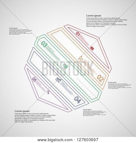 Octagon infographic illustration template askew divided to five color parts. Each part contain text number and sign and is created by double outline contour.