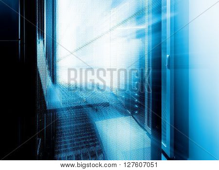 futuristic supercomputing cluster management terminal data center motion and blur