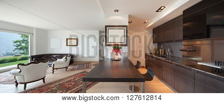 Interiors of new apartment, wide open space with kitchen and living room