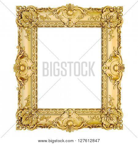 3d golden vintage classic frame on white background